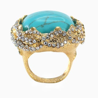 De Buman 18k Goldplated Square-shaped Created Turquoise Ring