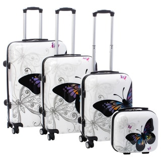 World Traveler Butterfly 4-piece Hardside Spinner Luggage Set With Combination Lock