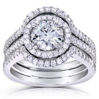Annello 14k White Gold Round-cut Moissanite and 5/8ct TDW Diamond Bridal Set (G-H, I1-I2)