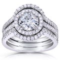 Annello 14k White Gold Round-cut Moissanite and 5/8ct TDW Diamond Bridal Set (G-H, I1-I2)