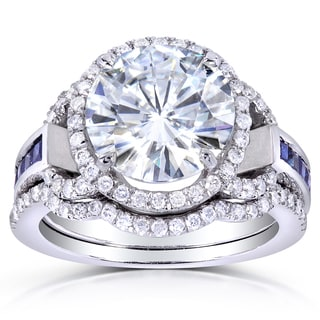 Annello 14k White Gold Round-cut Moissanite, Sapphire and 2/5ct TDW Diamond Bridal Set (G-H, I1-I2)