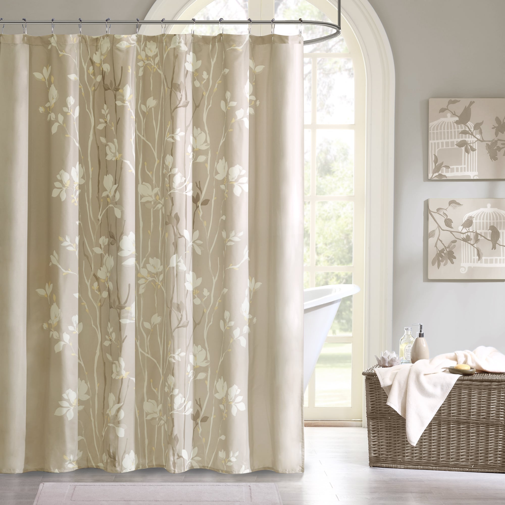 tree shower curtain nature taupe bathroom fabric tan leaves bath