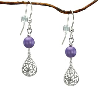 Jewelry by Dawn Purple Sterling Silver Filigree Teardrop Dangle Earrings