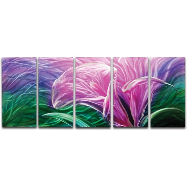 'Electric Lily' 5-panel Handmade Metal Wall Art 14066375