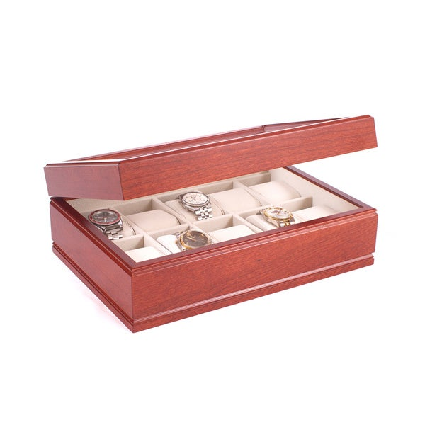 American Chest The Commander Cherry Wood Watch Storage Chest