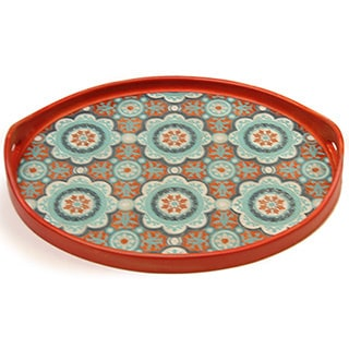 Rabat Orange Turqoise White Oval Tray