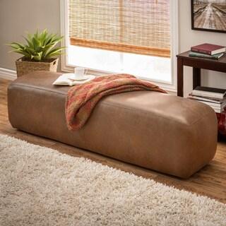 Dante Oxford Tan Italian Leather Bench