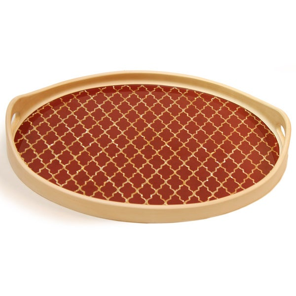 Rabat Orange Gold Oval Tray