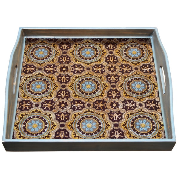 Rabat Mustard Blue Brown Square Tray