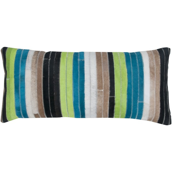 Blue/ Green Stripe Leather Feather-filled Throw Pillow