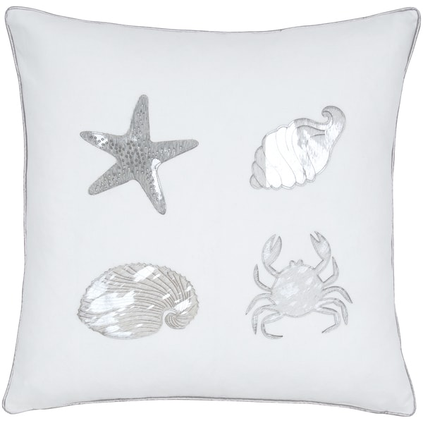 Shells Motif Ivory Seashell Decorative Pillow