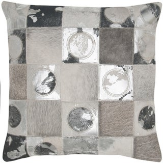 Geometric Silver/ Grey Leather Decorative Pillow