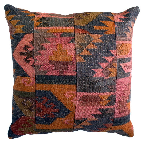 jute Multicolored Aztec Decorative Pillow in Grey Tones (As Is Item)