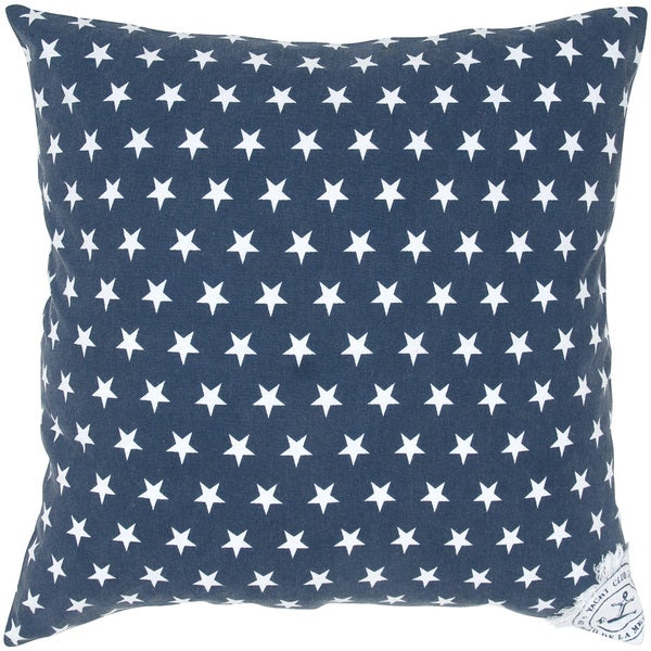 Navy Blue Star Decorative Pillow