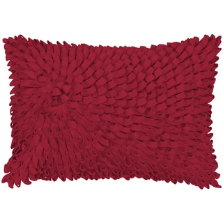 Felt and Wool Petal Loops Textured Feather-filled Throw Pillow