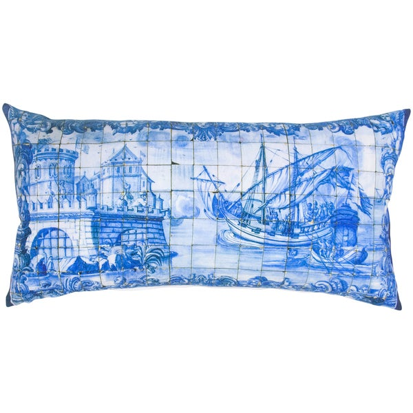 White/ Blue Digital Mosaic Feather-filled Throw Pillow