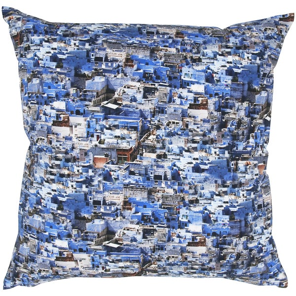 Blue/ White Digital Photo Print Feather-filled Throw Pillow