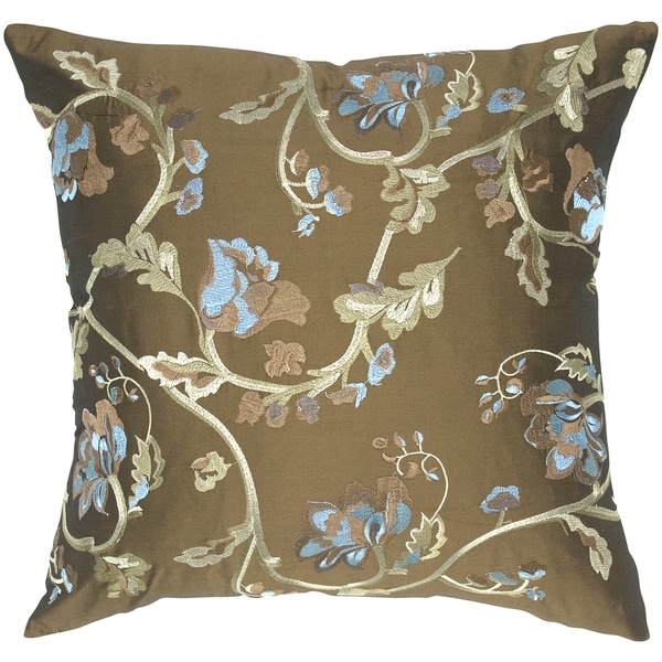 Embroidered Vine Floral Tafetta Pillow