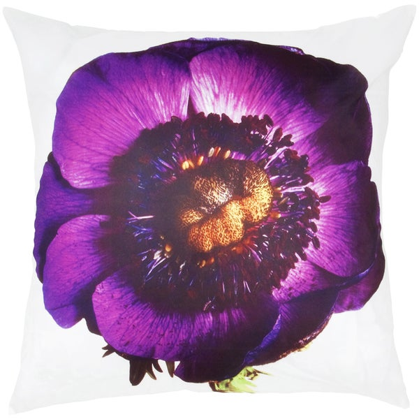 White/ Purple Pansy Feather-filled Throw Pillow