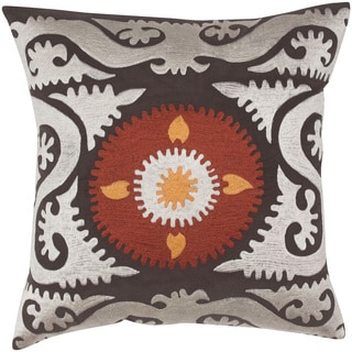 Coffee/ Amber Suzani Cotton Feather-filled Throw Pillow