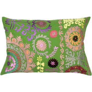 Green Multicolored Emroidered Suzani Feather-filled Throw Pillow