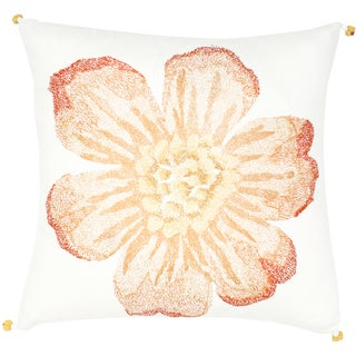 Peach Flower Print Feather-filled Throw Pillow