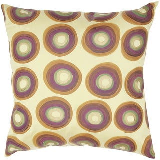 Gold Circles Silk Feather-filled Throw Pillow