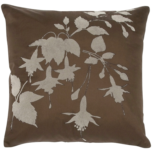 Tafetta Floral Flock Print Feather-filled Throw Pillow