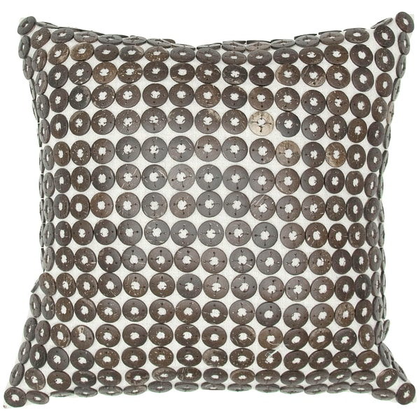 Coconut Shell Button Feather-filled Throw Pillow