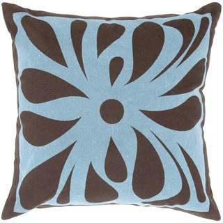 Single Flower Flock Design Feather-filled Throw Pillow