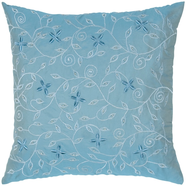 Poly Tafetta Embroidery Feather-filled Throw Pillow