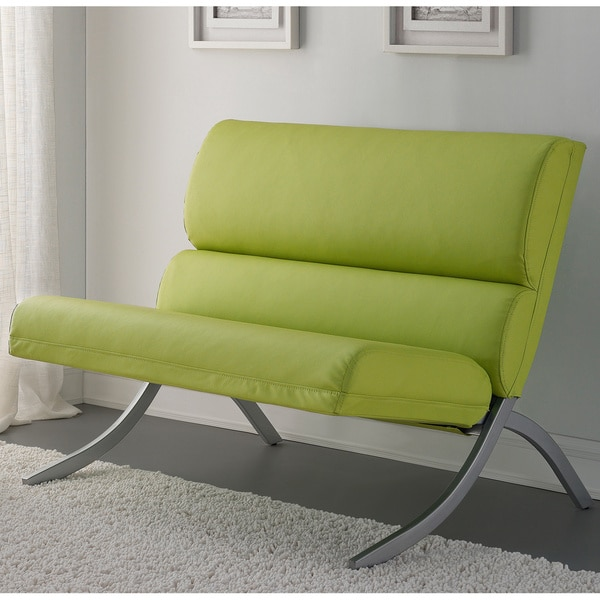 Rialto Lime Green Bonded Leather Loveseat Overstock Shopping Great Deals On Sofas Loveseats