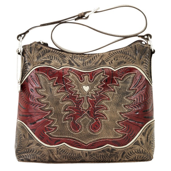 American West Distressed Charcoal Brown / Distressed Crimson / Cream Zip-Top Shoulder Bag