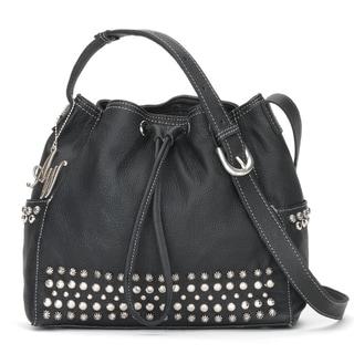 American West BlackDrawstring Crossbody Bucket Bag