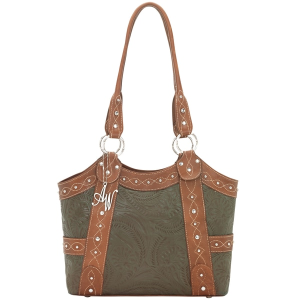 American West Antique Brown / Olive Green Zip-top Tote Bag