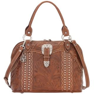 American West Antique Brown Zip-around Satchel Hand bag