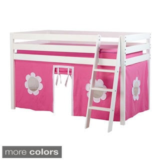 Straight Low Loft Bed with Angle Ladder and Underbed Curtain
