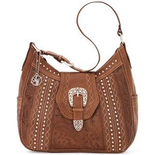 American West Antique Brown Zip top Structured Hobo Handbag