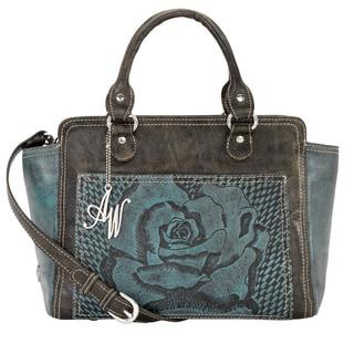 American West Distressed Charcoal Brown / Sky Blue Zip-top Tote Bag