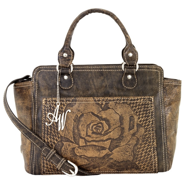 American West Distressed Charcoal Brown / Stone Zip-top Crossbody Tote Bag