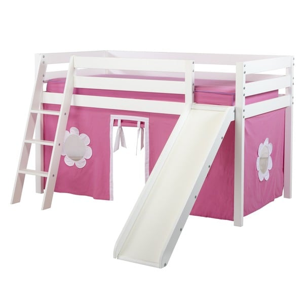 Shuffle Low Loft Bed With Angle Ladder Slide And Underbed