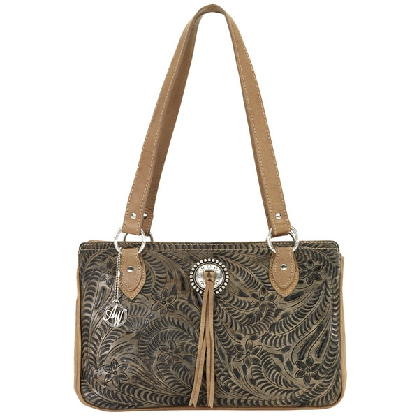 American West Distressed Chocolate Brown/tan Zip-top Tote Bag