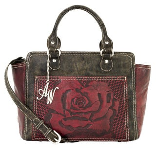 American West Distressed Charcoal Brown / Pomegranate Crossbody Zip top Tote Bag