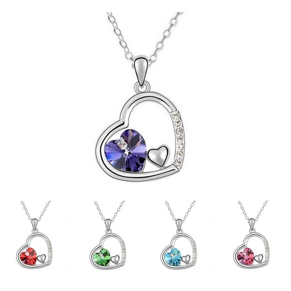 Princess Ice Platinum-plated 3-hearts-in-1 Pendant Necklace in Blue (As Is Item)