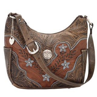 American West Antique Brown/ Distressed Charcoal Brown/ Sky Blue Zip-top Hobo Bag