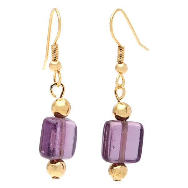 Detti Originals Square Purple Glass Bead Earring