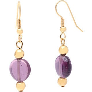 Detti Originals Gold Tone Purple Round Glass Earrings