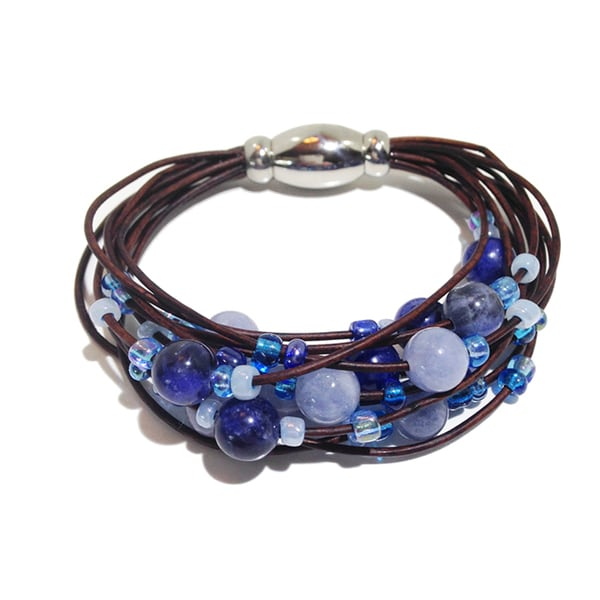 Aquamarine and Sodalite Multi-strand Bracelet