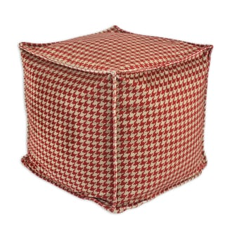 Minky Houndstooth Square Seamed Pellet Hassock Pouf