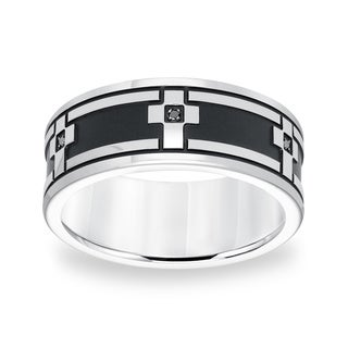 Cambridge Stainless Steel Black Diamond Accent Cross Ring